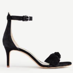 NEW $138~ANN TAYLOR~Black Suede ERICA Bow Sandal~8
